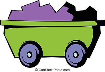 Trolley icon, icon cartoon - Trolley with ore icon in icon...
