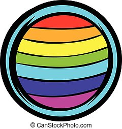 LGBT colors on button shape icon, icon cartoon - LGBT colors...