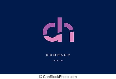 dh d h pink blue alphabet letter logo icon - dh d h pink...