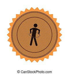 amber circular seal with training in hula hoop vector...