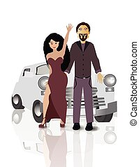Retro car with lovers on white easy to separate background...