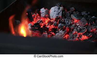 Burning coals, Glowing Charcoal Background - Glowing...