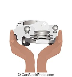 Retro car. Keep hands guard. Illustration on white easy to...