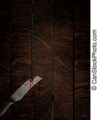 3D bloody knife on wooden table - 3D render of a bloody...