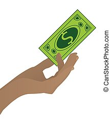 Salary payment. Hand holding the dollar