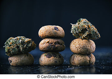 Cannabis nugs over infused chocolate chips cookies - medical...