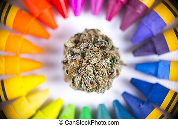 Macro detail of single cannabis nug surrounded by colorful...