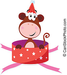 Christmas Monkey in red box - Christmas or birthday...