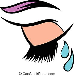 Crying eye icon, icon cartoon - Crying closed eye icon in...
