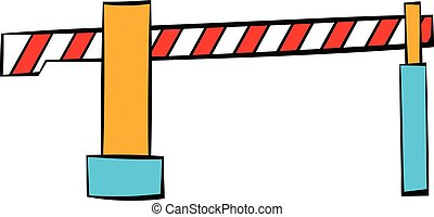 Railway barrier icon, icon cartoon - Railway barrier icon in...