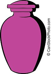 Urn for ashes icon, icon cartoon - Urn for ashes icon in...