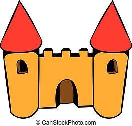 Castle icon, icon cartoon