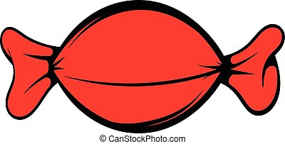 Red candy wrap icon, icon cartoon