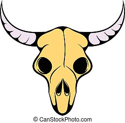 Buffalo skull icon, icon cartoon - Buffalo skull icon in...