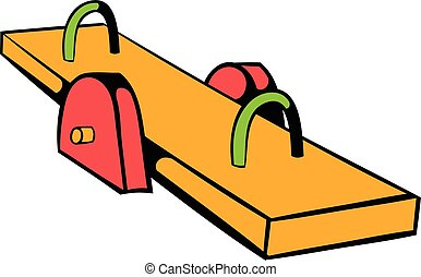 Yellow seesaw icon, icon cartoon - Yellow seesaw icon in...