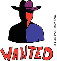 Vintage wanted poster icon, icon cartoon - Vintage wanted...