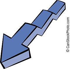 Broken down arrow icon, icon cartoon - Broken down arrow...