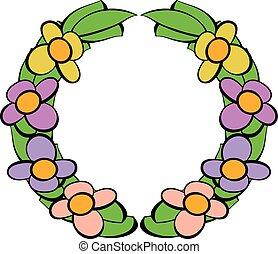 Memorial wreath of flowers icon, icon cartoon