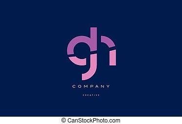 rosa, azul,  G, alfabeto, carta,  H, logotipo,  gh, icono