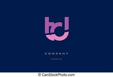 td t d pink blue alphabet letter logo icon - td t d pink...