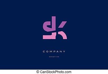 sk s k pink blue alphabet letter logo icon - sk s k pink...