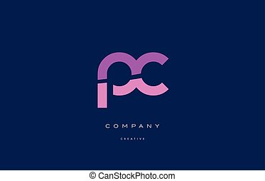 pc p c  pink blue alphabet letter logo icon