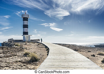 colonia san jordi lighthouse in majorca, spain