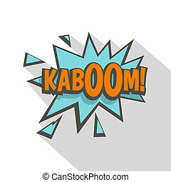 Kaboom, comic text sound effect icon, flat style - Kaboom,...