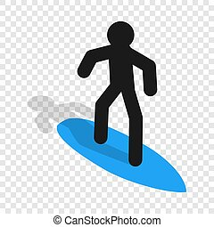 Surfer isometric icon 3d on a transparent background...
