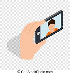 Young man taking selfie photo isometric icon 3d on a...
