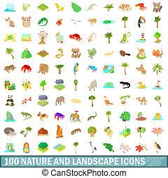 styl, Natura, komplet, ikony,  100, rysunek, krajobraz