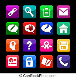 Web Icon Buttons - Vector illustration of a set of bright...