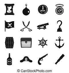 Pirate icons set, simple style