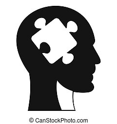 Head with puzzle icon, simple style - Head with puzzle icon....