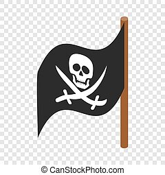 Pirate flag isometric icon 3d on a transparent background...