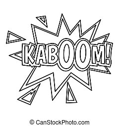 Kaboom, comic book explosion icon, outline style