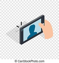 Man taking selfie photo on smartphone isometric icon 3d on a...