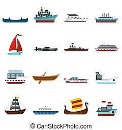 Sea transport set flat icons - Sea transport set icons in...