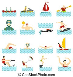 Water sport set flat icons - Water sport set icons in flat...