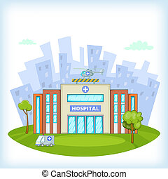 Hospital concept, cartoon style - Hospital concept. Cartoon...