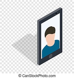 Photo of a man on the screen of smartphone icon - Photo of a...