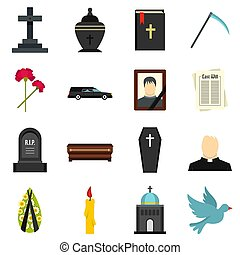 Funeral set flat icons