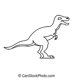 Theropod icon, outline style - Theropod icon. Outline...