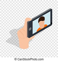 Guy taking selfie photo on smartphone isometric icon 3d on a...