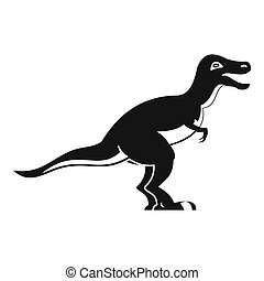 Theropod dinosaur icon, simple style - Theropod dinosaur...