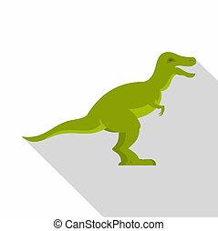 Green theropod dinosaur icon, flat style - Green theropod...