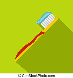 Yellow toothbrush with toothpaste icon, flat style - Yellow...