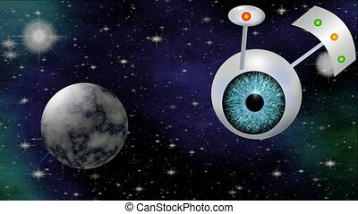 Sci-fi video with UFO. Fantasy space ship with blue eye...