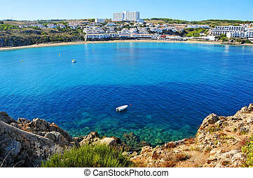 view of Arenal des Castell beach in Menorca, Balearic...