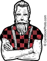 Man with beard - Vector illustration of ink drawn man with...